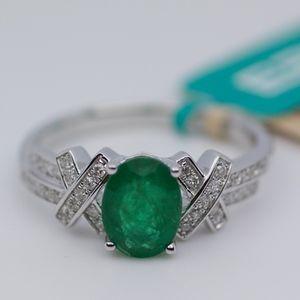New EFFY 14k White Gold Emerald And Diamond Ring